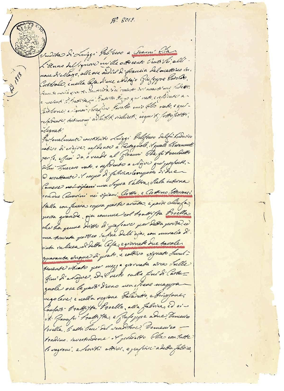 Documento d'acquisto di Giuseppe Elia
